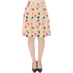 Heart Cherries Cream Velvet High Waist Skirt by snowwhitegirl