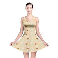 Beige Heart Cherries Reversible Skater Dress