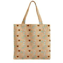 Beige Heart Cherries Zipper Grocery Tote Bag