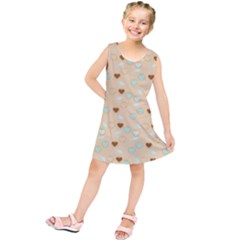 Beige Heart Cherries Kids  Tunic Dress