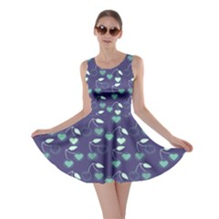 Heart Cherries Blue Skater Dress