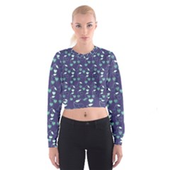 Heart Cherries Blue Cropped Sweatshirt