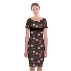 Heart Cherries Brown Classic Short Sleeve Midi Dress