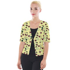 Yellow Heart Cherries Cropped Button Cardigan by snowwhitegirl