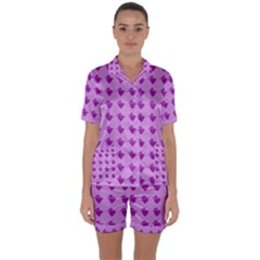 Punk Heart Violet Satin Short Sleeve Pyjamas Set