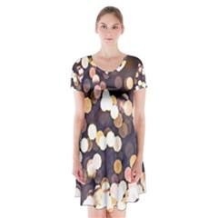 Bright Light Pattern Short Sleeve V Neck Flare Dress