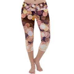 Warm Color Brown Light Pattern Capri Yoga Leggings