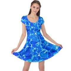 Blue Clear Water Texture Cap Sleeve Dress