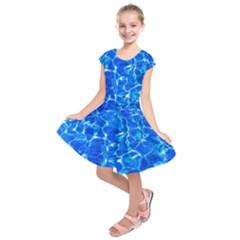 Blue Clear Water Texture Kids  Short Sleeve Dress