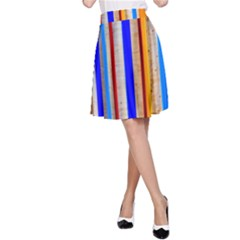 Colorful Wood And Metal Pattern A Line Skirt