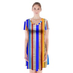 Colorful Wood And Metal Pattern Short Sleeve V Neck Flare Dress