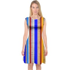 Colorful Wood And Metal Pattern Capsleeve Midi Dress