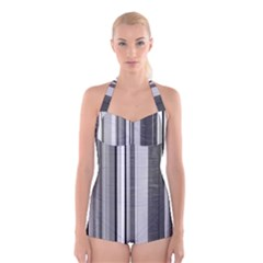 Shades Of Grey Wood And Metal Boyleg Halter Swimsuit