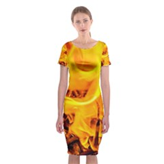 Fire And Flames Classic Short Sleeve Midi Dress