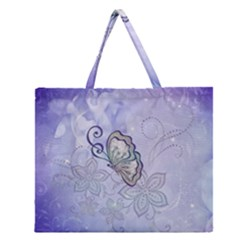 Wonderful Butterlies With Flowers Zipper Large Tote Bag
