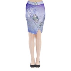 Wonderful Butterlies With Flowers Midi Wrap Pencil Skirt