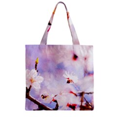Pink Sakura Purple Background Zipper Grocery Tote Bag