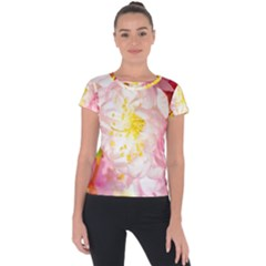 Pink Flowering Almond Flowers Short Sleeve Sports Top