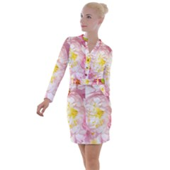Pink Flowering Almond Flowers Button Long Sleeve Dress by FunnyCow