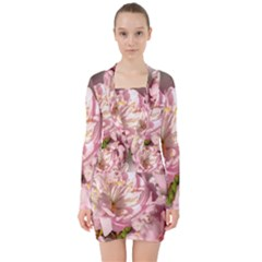 Beautiful Flowering Almond V Neck Bodycon Long Sleeve Dress