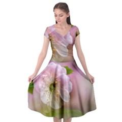 Single Almond Flower Cap Sleeve Wrap Front Dress