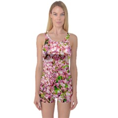 Almond Tree In Bloom One Piece Boyleg Swimsuit