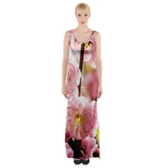 Blooming Almond At Sunset Maxi Thigh Split Dress