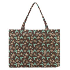 Brown With Blue Hats Zipper Medium Tote Bag