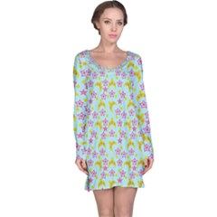 Blue Star Yellow Hats Long Sleeve Nightdress