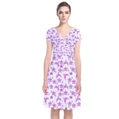 Violet Winter Hats Short Sleeve Front Wrap Dress