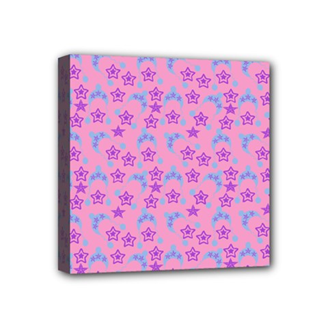 Pink Star Blue Hats Mini Canvas 4  X 4  by snowwhitegirl