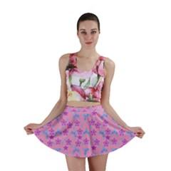Pink Star Blue Hats Mini Skirt