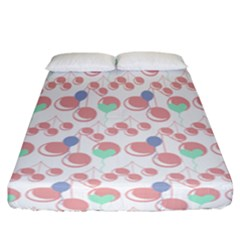 Bubblegum Cherry White Fitted Sheet (california King Size)