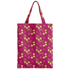 Yellow Pink Cherries Zipper Classic Tote Bag