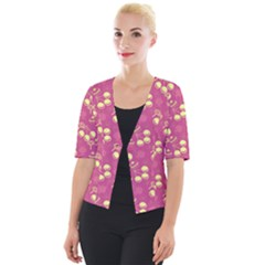 Yellow Pink Cherries Cropped Button Cardigan by snowwhitegirl