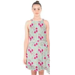 Bubblegum Cherry Halter Collar Waist Tie Chiffon Dress