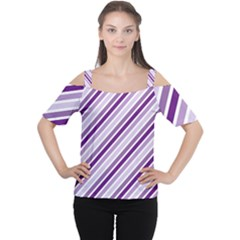Violet Stripes Cutout Shoulder Tee by snowwhitegirl