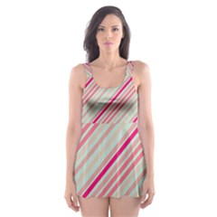 Candy Diagonal Lines Skater Dress Swimsuit