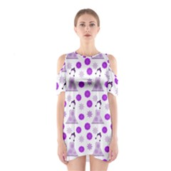 Lilac Dress On White Shoulder Cutout One Piece