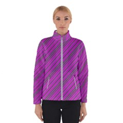 Pink Violet Diagonal Lines Winter Jacket