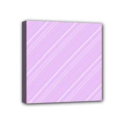 Lilac Diagonal Lines Mini Canvas 4  X 4  by snowwhitegirl