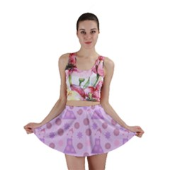 Violet Pink Flower Dress Mini Skirt