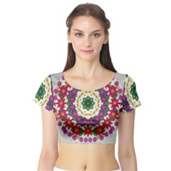 Fauna Fantasy Bohemian Midsummer Flower Style Short Sleeve Crop Top