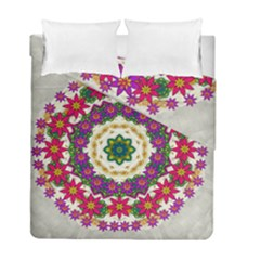 Fauna Fantasy Bohemian Midsummer Flower Style Duvet Cover Double Side (full/ Double Size) by pepitasart
