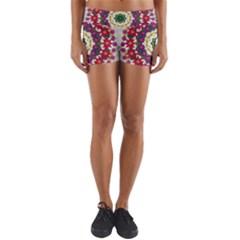 Fauna Fantasy Bohemian Midsummer Flower Style Yoga Shorts