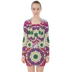 Fauna Fantasy Bohemian Midsummer Flower Style V Neck Bodycon Long Sleeve Dress