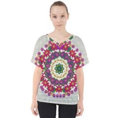 Fauna Fantasy Bohemian Midsummer Flower Style V Neck Dolman Drape Top