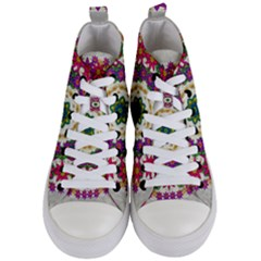Fauna Fantasy Bohemian Midsummer Flower Style Women s Mid Top Canvas Sneakers