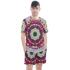 Fauna Fantasy Bohemian Midsummer Flower Style Men s Mesh Tee And Shorts Set