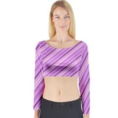 Violet Diagonal Lines Long Sleeve Crop Top